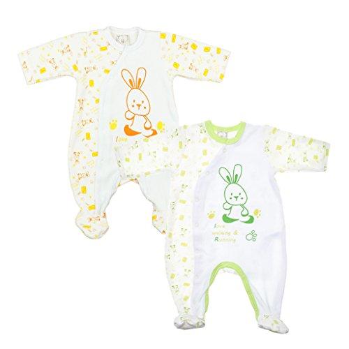Jungen BABY-STRAMPLER Hase mit Füßchen, GEFÜTTERT, Spiel-Anzug mit -