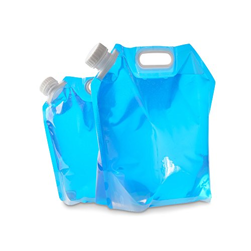 ya jin 2Pack 5L/10L pieghevole acqua potabile contenitore Storage lifting bag per campeggio picnic BBQ, Clear Blue