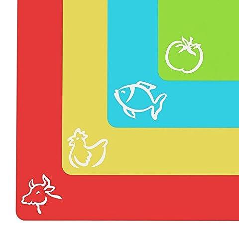 Planche à découper extra épaisse en plastique souple - Planche avec dessins de nourriture et revêtement arrière «EZ-Grip» gaufré (lot de 4) par Cooler Kitchen