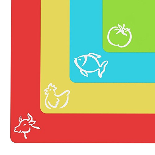 Cooler kitchen - set 4 taglieri di plastica flessibile con spessore –tappetini con simboli di cibo e parte posteriore con sistema antiscivolo a reticolo
