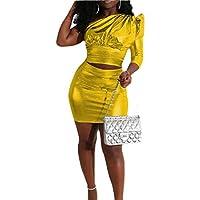 GAGA Women Shiny Metallic 2 Piece Outfits Set Clubwear One Shoulder Crop Top Mini Skirts Golden M
