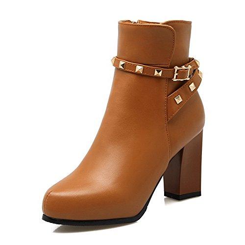 Odomolor Damen Weiches Material Rund Zehe Hoher Absatz Niedrig Spitze Stiefel, Aprikosen Farbe, 36