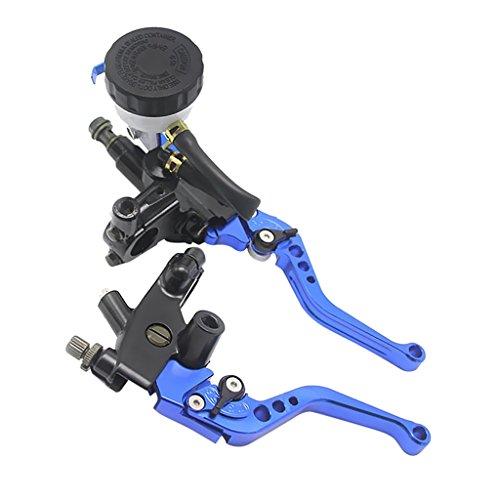 MagiDeal 1 Stück Motorrad Kupplungsgeberzylinder hebel mit 1 x Verstellbarer Bremsen - Blau