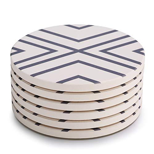 LIFVER 6-teilige Absorbent Stone Coaster Set, Getränk verschüttet Untersetzer, Gray-Lines
