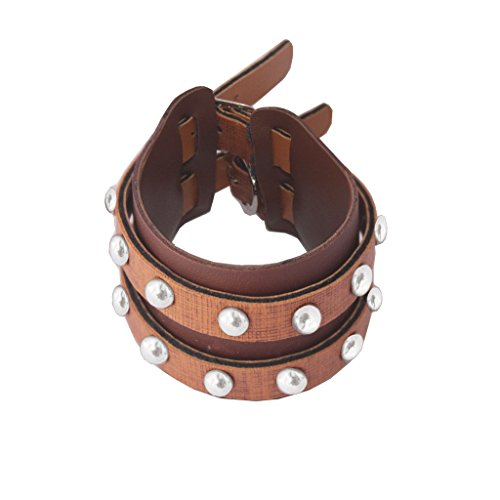 Rich & Famous Menjewell Stylish Leather Jewelry Multicolor Antique Design Three In One Bracelet