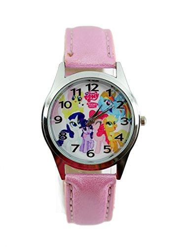 Procuffs Kinder Uhr Analog Quarzwerk mit Leder Disney My Little Pony E1 Rosa Runden (Pony My Little Watch)