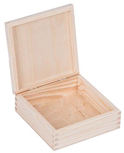 Amazinggirl Schatzkästchen Holzkiste Holz Schatulle Abschließbar Schmuckschatulle Allzweckkiste Holzschatulle Aufbewahrungsbox Holzkästchen Zum Basteln mit Deckel Klassische holzbox 16 x 16 x 6 cm (Lack-aufbewahrungsbox)
