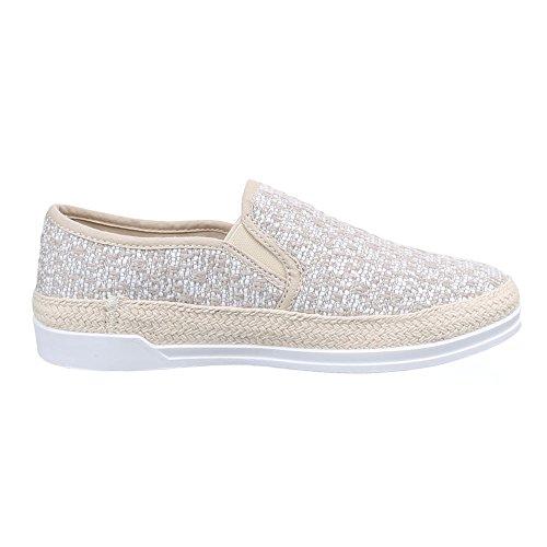 Damen Schuhe, 198-Y, HALBSCHUHE SLIPPER Beige