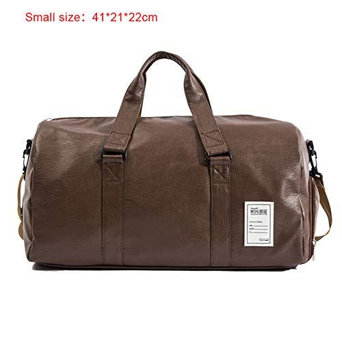 TTZZ 2019 Qualität Reisetasche Schwarz Pu-Leder Paar Reisetaschen Handgepäck Für Männer Und Frauen Mode Seesack Braun41 * 22 *   21 cm -