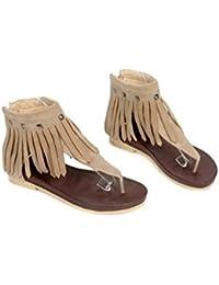 Beauqueen Sandalias Flip & Flop Thongs Mujeres Tassel Verano Mujer Zapatos Casual Especial Tamaño Europa 34-39 , beige , 39