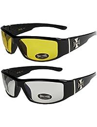 2er Pack Choppers 6608 X08 Sonnenbrillen Motorradbrille Sportbrille Radbrille in den Farben schwarz, anthrazit, silber und weiß