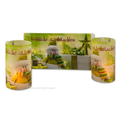 10 Stück // Teelicht-Karten/Windlichtkarte mit weihnachtlichem Motiv - Weihnachtsmann in grün