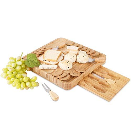 Homfa Tabla de Queso Bandeja para Queso Tabla para Cortar Queso con Juego de Cubiertos Bambú 33x33x4.5cm