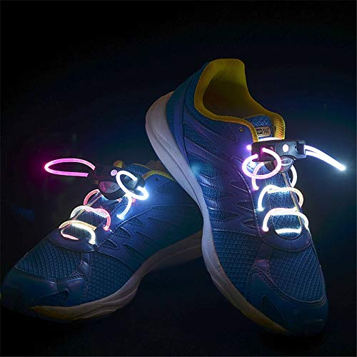 en LED Leuchten Blinkende Leuchtende Schnürsenkel - Multi-Color LED Schnürsenkel Blitz Beleuchtung Die Nacht Für Party für Nighttime Activity Party Hip-Hop Tanzen Radfah ()