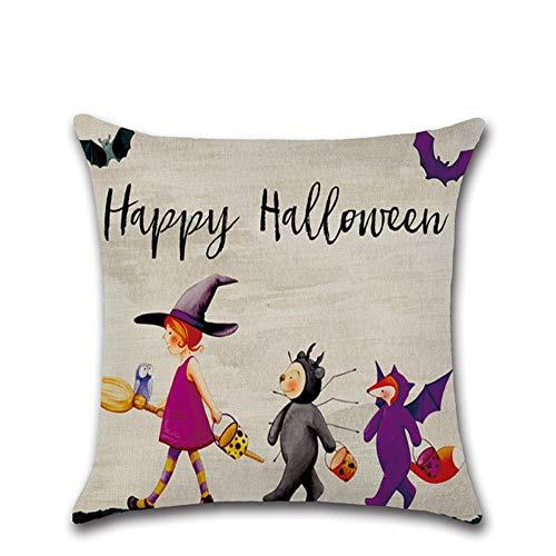 Halloween Deko Grusel Dekoration Set 45 * 45 cm Halloween Kürbis Kleine Hexe Cartoon Kissenbezug 304 1 stück für Halloweendeko Make-up-Party Halloween Dekoration