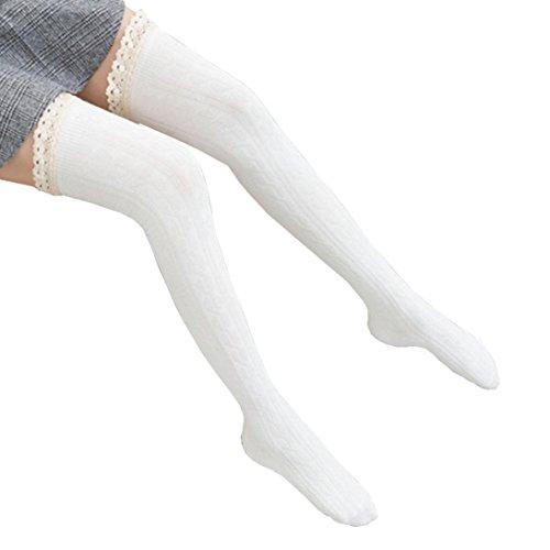 Saingace Frauen über dem Knie lange Socken Spitze Oberschenkel Hohe Strumpf Socken (Weiß) (Spitze Knie Socken Hohe)