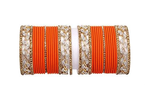 Orange color Traditional Gold plated Diamontic Plain bangle set Pair Bridal fashion...