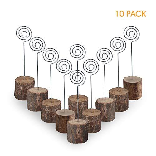 tohalter Holz Sitzkartenhalter Hochzeit Tischnummer Halter Fotoständer Clip Tischhalter für Haus Büro Dekoration-10pcs ()