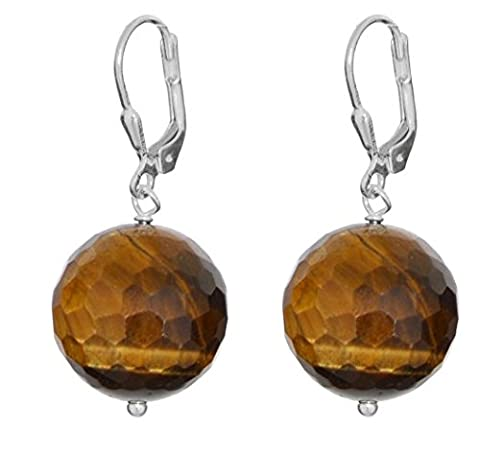 ERCE Tiger Eye Gemstone Earrings Facetted Round, 925 Sterling Silver, Length 3.6 cm in Gift Box