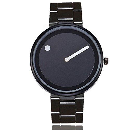 Keepwin Unisex Mode Casual Uhren Mann Frauen Edelstahl Schnalle Uhren Quarz Analog Uhren Geschenke (Black)