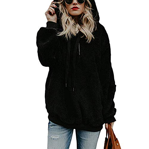 Toamen Womens Coat Sale Clearance Ladies Warm Faux Wool Zipper Pockets Hooded Pullover Sweatshirt Tops Outwear
