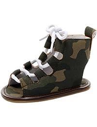 Malloom 0-2 Años bebé Ocasional Sandalias Vendaje Cross-Atado único Cuna Hueco Zapatos para Niños Niñas