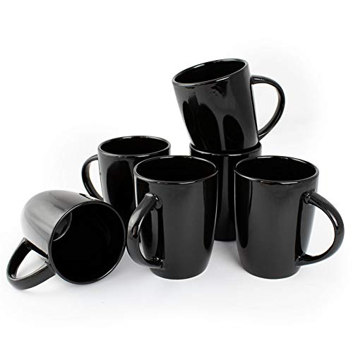 Werbewas 6er Set Schwarze Keramik Kaffeetassen ohne Druck - zum bemalen und basteln geeignet - Simple Kaffeebecher zum Personalisieren - 300ml - Tassen/Becher/Pott für Kaffee, Tee und mehr - Basic