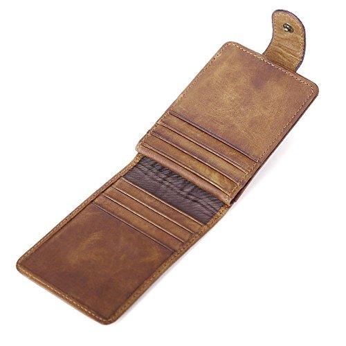 Wildman Herren Kreditkartenetui, echtes Leder Geldbörse, Trifold, schlankes Design, weiches & stilvolles Leder, kompakt, Bolzenöffner für Sicherheit, Geschenk für Ihn (braun)