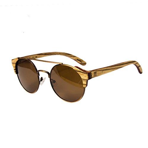 WOLA Damen Herren Sonnenbrille Holz FEU Brille rund mit Metallrahmen polarisiert UV400 Zebraholz...