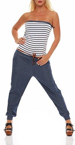 malito Damen Einteiler im Marine Design | Overall mit Gürtel | Jumpsuit im Jeans Look | Romper - Playsuit – Bandeau 9650 (weiß) (Leichtes Bandeau)