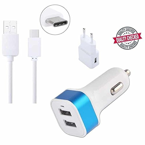 Captcha One Plus 3T Compatible Certified Usb Type-C Data Sync + Charging Cable With 2Amp Adaptor & Dual Car Charger