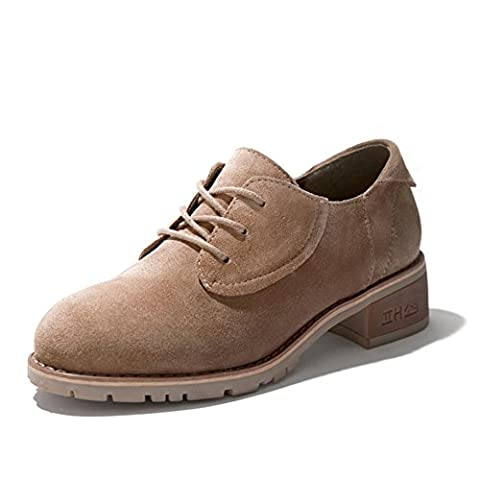 lady,printemps,rough avec,chaussures nue/rétro,lacez vers le haut,talons moyens,casual shoes-A Longueur du pied=24.3CM(9.6Inch)