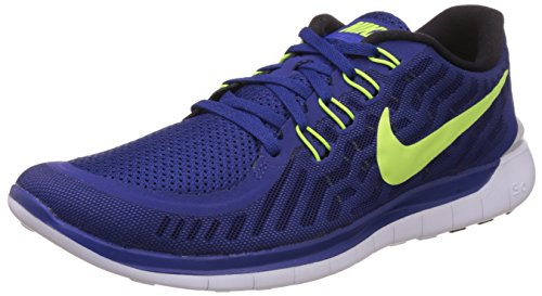 Nike Men's Free 5.0 Deep Royal Blue, Racer Blue, White and Volt Running Shoes -9 UK/India (44 EU)(10 US)  available at amazon for Rs.4298