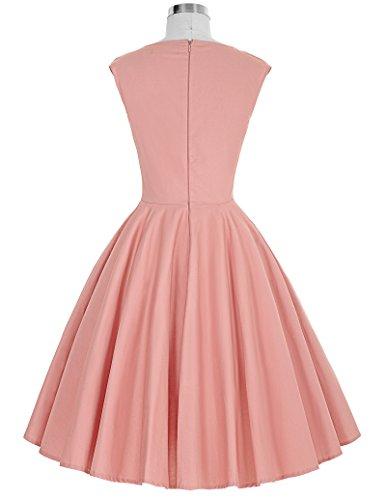 Belle Poque 50s Vintage Retro Rockabilly Kleid Petticoat Kleid Party Festliche Kleid BP187-3 (Rosa)