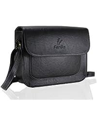 Fargo Vintage PU Leather Women's & Girl's Cross Body Side Sling Bag (Black_FGO-017)