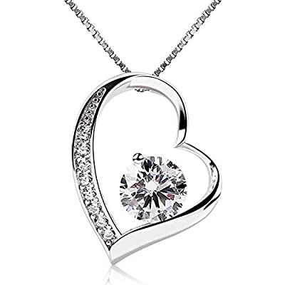 B.Catcher Sterling Silver Cubic Zirconia Forver Love Heart Pendant Necklace with Sterling Silver Chain