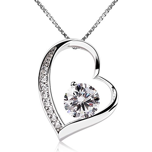 - 41Ti9NU4bFL - B.Catcher Sterling Silver Cubic Zirconia Forver Love Heart Pendant Necklace with Sterling Silver Chain