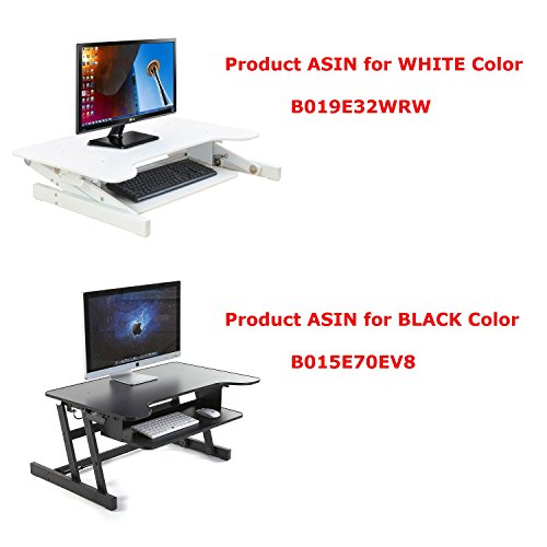 ER Healthy Sit-stand Desktop Computer Workstation | Height-adjustable Standing Desk | Raising and Lowering to Various Positions for Ergonomic Comfort (White)(Gray)