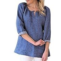 TUDUZ Blouse Women's Blouse Loose Cotton Linen 3 4 Sleeve Casual T Shirt Solid Button V Neck Tops UK-14/CN-M Blue