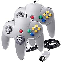 suily 2 Pack N64 Game controller Wired Gamepad Joystick für N64 Konsole N64 System, Grau