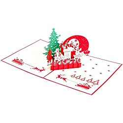 3D Pop-up Tarjetas de Felicitación Invitación Decoración Navidad Cumpleaños Valentín - 6
