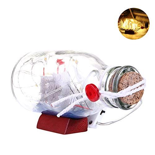 gelboot Drift Kork Glas Flasche Charme Kleine Miniaturen Mittelmeer Haus Tischdekoration Geschenk Nachtlichter (Color : Warm Yellow) ()