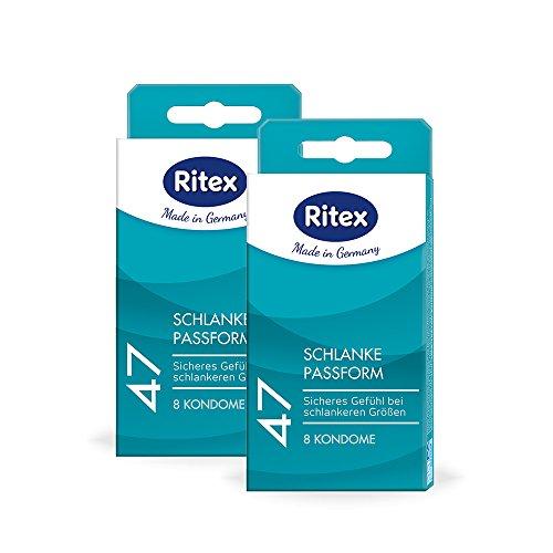 Sichere Kondome (Ritex 47 Kondome, Kleines Kondom, Schlanke Passform, Sicheres Gefühl durch festeren Sitz, 24 Stück (3 x 8 Stück), Made in Germany)