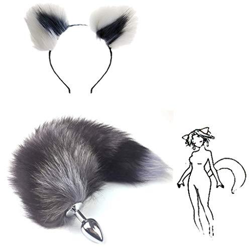 Kostüm Grey Fox - Jjek Cos-Fox Metall Schwanz Plüsch und Multicolor Katzenohren Glamour Weibliche Maskerade Requisiten 2 stücke Set Massage Cosplay Kostüm Requisiten (Color : White+Grey, Size : L)