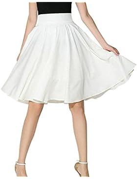 Yonglan Mujer Vintage Elástica Plisada Básica Patinador Multifuncional Corto Falda Blanco L