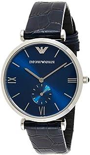 Emporio Armani Men's Blue Dial Leather Analog Watch - AR11300, Si