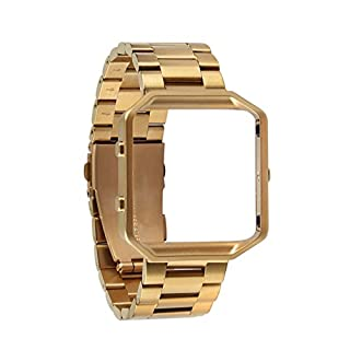 Wrist Band Kit for Fitbit Blaze Tracker 23mm Stainless Steel Band Strap with Lugs + Watch Frame + Tool, Gold