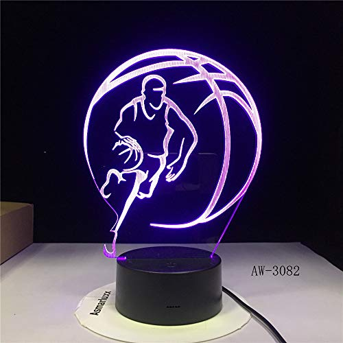 Baloncesto 3D Deportes decoración del hogar LED ilusión táctil 7 lámpara cambiante de Color Dormitorio luz Nocturna Mejor niños niño Regalo 2 Controlador