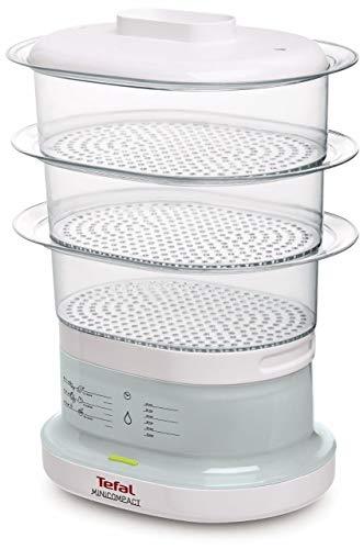 Tefal Minicompact VC1301 Vaporiera, 7 Litri, 0 Decibel, Plastica, Trasparente/Bianco