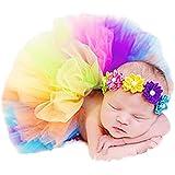 Babyfotografie ropa 1 juego del arco iris de la falda + de la venda